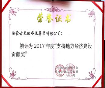 """2017年度""""支持地方经济建设贡献奖"""""""